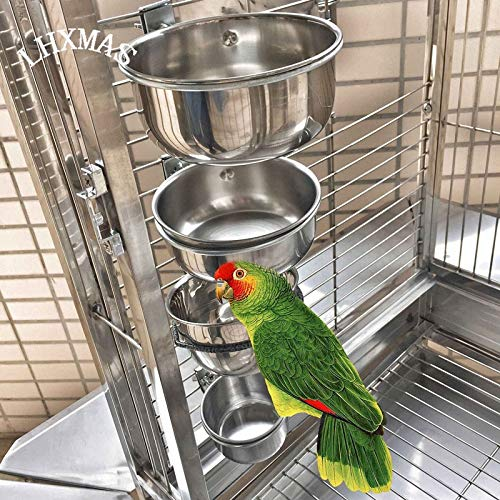 Petsdelite Original Color, S: Bird Feeders Parrot Stainless Steel Cups Container with Holder Food Bowl for Macaw African Greys Bud