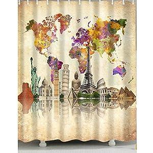 Colorido mapa del mundo cortina de ducha 1pc para hogar y baño