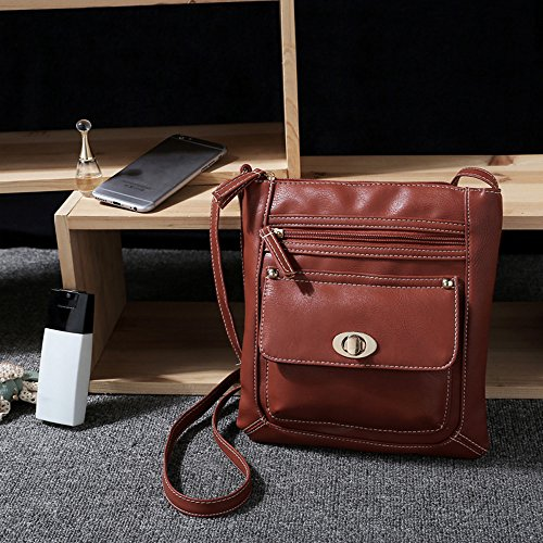 Longra Leather Satchel delle donne Crossbody spalla Messenger Bag Marrone