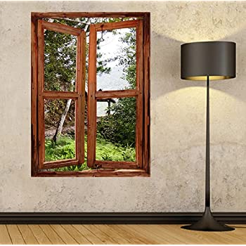 illusion window view wall mural window view wall stickers window frame wall art self - Window Frame Art