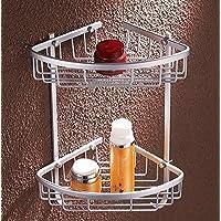 Spazio rack in alluminio solido doppia cinghia a V carrello gancio angolo bagno rack angolo doppio cestello