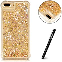 "iPhone 7 Plus (5.5"") Glitter Case Gold, iPhone 8 Plus Case Liquid, Slynmax [Drop Proof Design] Flowing Liquid Quicksand Floating Flowing Bling Shiny Sparkle Diamond Cover Glitter Crystal Clear Plastic Soft Flexible TPU Gel Case Silicone Ultra Slim Fit Anti-Drop Shockproof Protective for Girl Women Bumper Back Smart Shell Case for Apple iPhone 7 Plus/iPhone 8 Plus + 1 * Stylus Touch Pen"