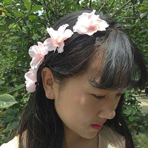 Lemandy set de 4 épingles à cheveux fleurs artificielles cristaux TH001 Rose