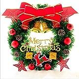 hhlwl 2019 Weihnachtskranz Roten Knoten Fünf-Sterne Girlande 30/40/50 cm Weihnachtsdekoration Tür Dekoration, 40 cm
