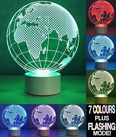 Optical Illusion 3D Earth Lamp–Terre monde Lampe