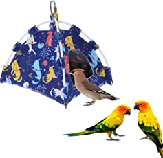 KOBWA Vogelnest Haus Bett für Papageien Habitat Höhle Hängezelt Segeltuch faltbar Haustier Käfig Hamster Haus Outdoor Vogelhütte Zelt Rattenschlafer mit waschbarer Unterlage für Kleine Tiere Vögel