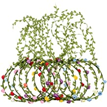 eBoot 10 Piezas Corona de Flores de Multicolor Diadema Floral Guirnalda de Flores de Pelo para Festival Fiesta de Boda