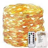 FSTgo Fée Chaîne De Lumière À Piles Alimenté 200 LED De Cuivre Lumière avec Télécommande Intérieur Extérieur Imperméable À L'eau pour Arbre De Noël Jardin De Mariage 8 Mode 66ft 20M