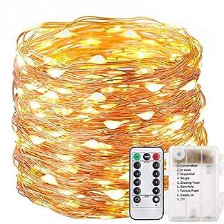 200 LED de cadena AA alimentadas por pilas con mando a distancia para interior y exterior, luz estroboscópica resistente al agua para Navidad, HalloweenTre