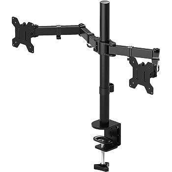 "1home Double Twin Arm Desk Mount Ergonomic TV LCD Monitor Computer Screen Bracket Dual Tilt Swivel Rotation 13""-27"""
