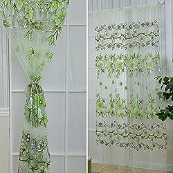 New 2016 New 2Pcs 100cmx200cm Offset Printing Flower Pattern Voile Drape Panel Sheer Window Curtain Green