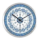 XPY-wall clock Wanduhr Retro Stumm Hause Dekor Wandbehang, 14 Zoll,Schwarze Nadel Silberrahmen