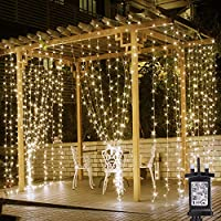 LE 306 LED Curtain Fairy Lights Plug in, 3m x 3m Warm White Christmas Lights, 8 Modes, String Lights Mains Powered for Indoor Outdoor, Bedroom, Gazebo, Party, Garden, Wedding and More