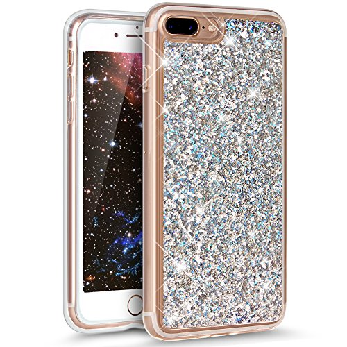 Cover iPhone 7 Plus ,Custodia iPhone 7 Plus ,ikasus® Crystal Clear TPU con Cristallo di lusso di Bling di scintillio lucido diamante Sirena scintilla Custodia Cover per iPhone 7 Plus Custodia Cover [C Argento