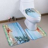 Richoose 3 Stück Toiletten-Abdeckung Set Bad WC Set Sitzbezug (Bad Teppich + Pedestal Teppich + Toilettensitzabdeckung), Seestern Strand