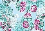 Komar - Fototapete PICCADILLY - 368 x 254 cm - Tapete, Wand Dekoration, Blumen, Rosen, Paisley Muster, Vintage - 8-739