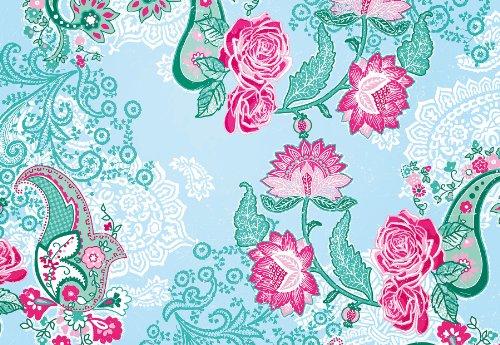 Komar - Fototapete PICCADILLY - 368 x 254 cm - Tapete, Wand Dekoration, Blumen, Rosen, Paisley Muster, Vintage - 8-739 Paisley-rosen