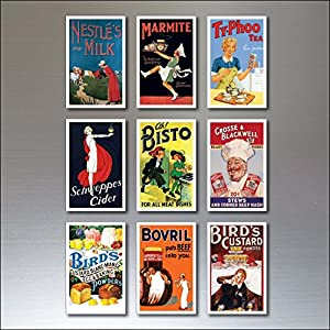 9 Vintage Retro Advert Poster Kühlschrankmagnete – schäbig, Chic, Art Deco – No.4