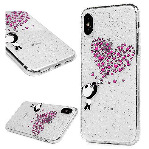 3x Cover iPhone X, Custodia Glitter Brillanti Morbida Silicone TPU Flessibile Gomma - MAXFE.CO Case Ultra Sottile Cassa Protettiva per iPhone X - Modello 1 Modello 2