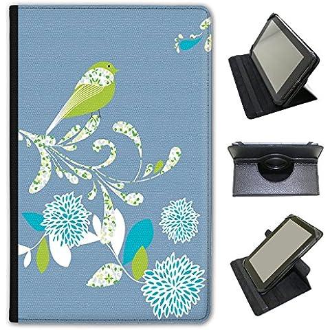Elegante (piel sintética, función atril), diseño de flores de pájaros sobre para Acer Tablets negro azul (Denim Blue) Acer Predator 8