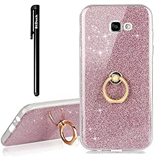 Galaxy A3 2017 Hülle Rosa,BtDuck Hülle Transparent Silikon Glitzer Papier 2 in 1 Schutzhülle Smartphone Halter Ständer Ringhalter Metall Ring Handyhülle Kompatibel mit Samsung Galaxy A3 2017