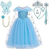 Lito Angels Disfraz Princesa Elsa con Capa Vestido la Reina de las Nieves Frozen Reino del Hielo para Niñas, Talla 3-10 años,