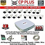 CP PLUS 16-CHANNEL DVR KIT WITH 2-TB HARD DISK , 4-PC 2.4MP DOME CAMERA , 12-PC 2.4MP BULLET CAMERA, 16-CH POWER SUPPLY ,WITH BNC/DC CONNECTORS & WIRE ROLL COMBO PACK.