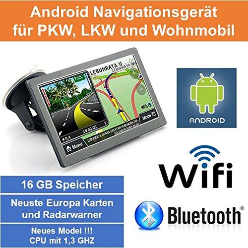 """17,8cm 7"""" Zoll,Android Navigationsgerät,Navigation,Wifi,Neuste EU Karten,Radarwarner,Tablet PC,Internet,Wohnmobil,LKW,PKW,16GB Speicher,HD,AV-IN,Bluetooth,Kostenlose Kartenupdate,GPS"""