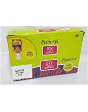 Yuktha Eternals Fevicryl 3D Outliner Glitter Silver 402 -Pack of 10