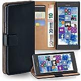 moex Nokia Lumia 730 | Hülle Schwarz mit Karten-Fach 360° Book Klapp-Hülle Handytasche Kunst-Leder Handyhülle für Nokia Lumia 730/735 Dual SIM Case Flip Cover Schutzhülle Tasche