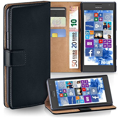 Nokia Lumia 730 Hülle Schwarz mit Karten-Fach [OneFlow 360° Book Klapp-Hülle] Handytasche Kunst-Leder Handyhülle für Nokia Lumia 730/735 Dual SIM Case Flip Cover Schutzhülle Tasche