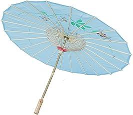 Generic Handmade Chinese Cloth Floral Umbrella Wedding Dance Props - sky blue