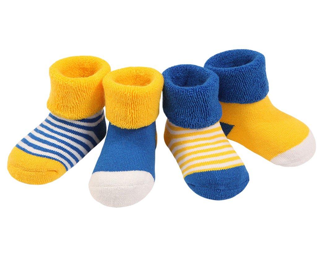 DEBAIJIA 4 Pares Bebé Calcetines Algodón 0-36 Meses Respirable Calcetin Para Niños Niñas Cómodo Absorber el Sudor Suelta…