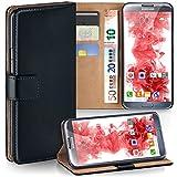 moex Samsung Galaxy Note 2 | Hülle Schwarz mit Karten-Fach 360° Book Klapp-Hülle Handytasche Kunst-Leder Handyhülle für Samsung Galaxy Note 2 Case Flip Cover Schutzhülle Tasche