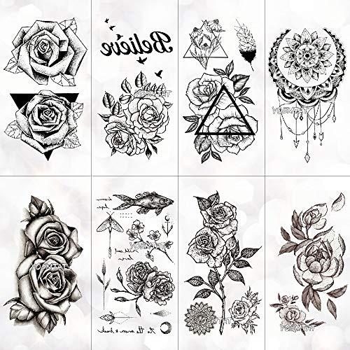 Tzxdbh autoadesivi temporanei del tatuaggio impermeabili sulle maschere temporanee di body art degli uomini tatuaggi autoadesivi temporanei falsi del tatuaggio delle rose