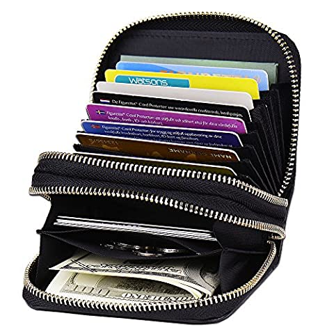 Credit Card Wallet, SHANSHUI Genuine Leather Wallet Purse for Women Ladies Girl Men RFID Blocking Card Protector Holder with 2 Metal Zipper 12 Card Slots Black