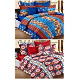 Story@Home Premium Magic Combo 152 TC 2 Pieces Bedsheets with 4 Pillow Covers - Blue, Maroon