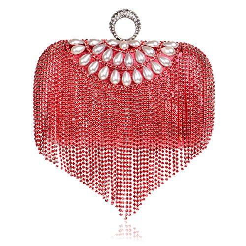 Strawberryer Fashion Tassel Ladies Handbags Europe Et Les États-Unis Banquet Robe En Sac De Mariée Ensemble De Dîner Accepter L'embrayage red