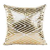 SHOBDW Kissen Dekorative Home Decor Sofa Taille Wurf Kissenbezug Case Set Dekokissen Deckt Geometrische Muster 45cmX45cm Goldfolie Drucken Künstliche Wollmantel mit Streifen Kissenbezüge