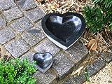 Vogeltränke aus schwarzem Granit 15 cm - Brunnen Steintrog Granittrog
