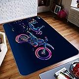 3D Kunst Gefärbt Motorrad 336 Rutschfest Teppich Matte Raum Matte Qualität Elegant Teppich DE, AJ WALLPAPER Seven (H40cmxB60cm【15.7