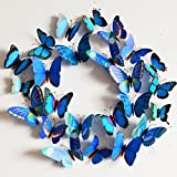 Zibuyu Blue Art Design Decal Wall Sticker Home Decor Room Decorations 3D Butterfly