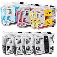 Alta capacidad Compatible Cartuchos de tinta para Brother LC-123BK/C/M/Y con chip, para BROTHER DCP-J4110DW, MFC-J4410DW, MFC-J4510DW, MFC-J4610DW, MFC-J4710DW–LC123impresoras, color 4 Pack Black + 6 Pack Colour