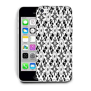Snoogg White Floral Black Printed Protective Phone Back Case Cover For Apple Iphone 5C