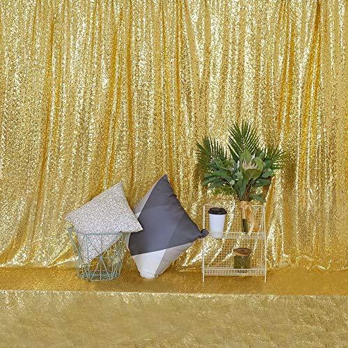 GFCC Pailletten-Hintergrund für Hochzeit/Geburtstagsparty/Baby-Party/Fotografie, 183 x 2,4 m, Gold, ()