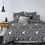 DecoKing 84687 Bettwäsche 200x220 cm mit zwei Kissenbezügen 80x80 schwarz weiß geometrisches Muster Bettbezüge Microfaser Bettwäschegarnituren black white Hypnosis Collection Mandala