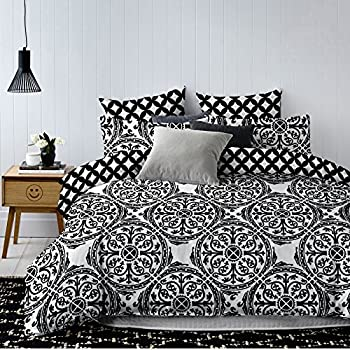 decoking 83406 bettw sche 135x200 cm mit 1 kissenbezug 80x80 schwarz wei geometrisches muster. Black Bedroom Furniture Sets. Home Design Ideas