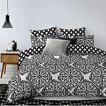 decoking 83406 bettw sche 135x200 cm mit 1 kissenbezug 80x80 schwarz wei geometrisches muster. Black Bedroom Furniture Sets. Home Design Ideas