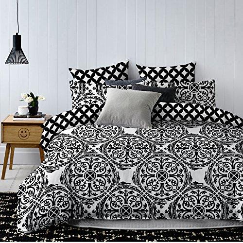 DecoKing Bettwäschemit Kissenbezug 80×80 schwarz weiß Geometrisches Muster Bettbezüge Microfaser Bettwäschegarnituren Black White Hypnosis Collection Mandala