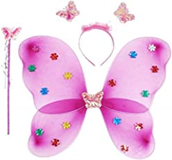 Kala Decorators Fairy Butterfly Pink Wings-Set of 3 has Magic Wand,Hair Band,Wings for Birthday,Fairy Tail Competition